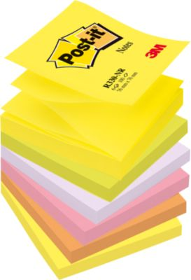 Post It Z-Notes, neonkleuren, 76 x 76 mm, pak van 6 stuks