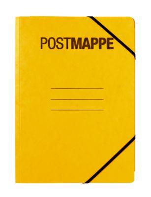 Postmappe A4, gelb, mit Eckspanngummi, mit Beschriftungsfeld