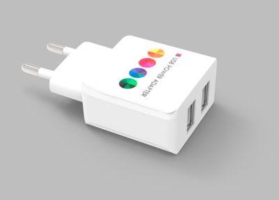 Power USB Adapter, mit 2 USB-Ports, ideal für beidseitige Werbeanbringung, weiß