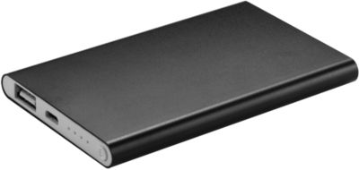 Powerbank, 4.000 mAh, USB + Micro-USB, Aluminium, extra flach, schwarz, WAB 80x40 mm
