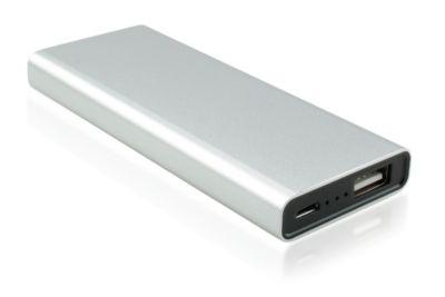 Powerbank Monaco, 4000 mAh, Lithium-Ionen-Polymer-Akku, USB-Schnittstelle, silber