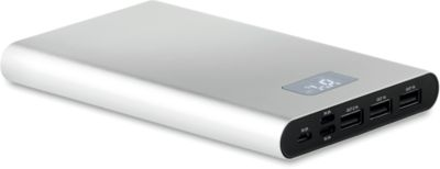 Powerbank Powerhouse, Micro-USB + Typ C + Lightning, 16.000 mAh, Aluminium, optio. Werbedruck, silber