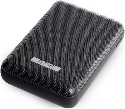 Powerbank Q-Pack Luxury, 2 x USB, 10.000 mAh, LED-Anzeige, USB/Micro USB-Ladekabel, Werbedruck 42 x 42 mm, schwarz