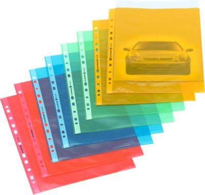 PP gekleurde geperforeerde hoezen, geel, 25 stuks