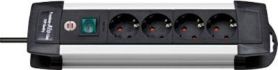 Premium-Alu-Line-contactdozenlijst, 4-voudig, kabellengte 1,8 meter