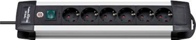 Premium-Alu-Line-contactdozenlijst, 6-voudig, kabellengte 3 meter