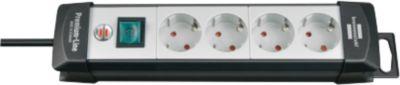 Premium-Line Steckdosenleisten, 4-fach, schwarz/lichtgrau