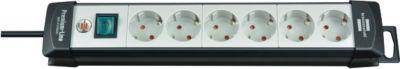 Premium-Line Steckdosenleisten, 6-fach, schwarz/lichtgrau