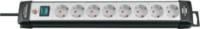Premium-Line Steckdosenleisten, 8-fach, schwarz/lichtgrau