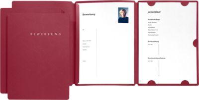 Presentatie- of sollicitatiemappen, uit karton, voor A4-formaat, voor 30 vel, rood, 3 stuks