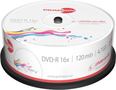 PRIMEON DVD-R, bedrukbaar, max. 16x, 4,7 GB/120 min, spindel met 25 stuks