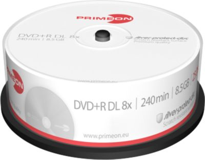 PRIMEON DVD+R DL, 25er-Spindel, Silber Protection