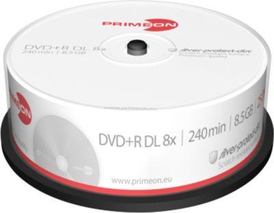 PRIMEON DVD+R DL, spindel met 25 stuks, silver protection