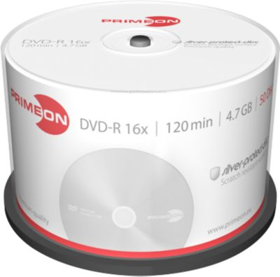 PRIMEON DVD-R, max. 16x, 4,7 GB/120 min, spindel met 50 stuks