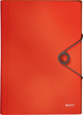 Projectportfolio Leitz Solid, 5 vakken, 1 extra vak, formaat DIN A4, lichtrood, 5 vakken, 1 extra vak, formaat DIN A4, lichtrood