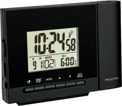Projektionswecker, f. Uhrzeit, Woche, Datum & Innentemperatur, Ladefunktion f. Mobilgeräte, Tampondruck 50 x 5 mm