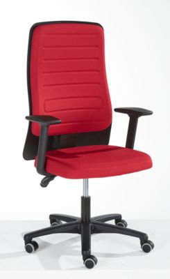 Prosedia Bürostuhl ECCON plus-3, Permanentkontakt, ohne Armlehnen, Rückenlehne gepolstert, mit Lordosenstütze, Flachsitz, rot