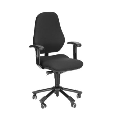 Prosedia Bürostuhl LEANOS III, Permanentkontakt, ohne Armlehnen, Bandscheibensitz, schwarz/blau