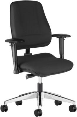 Prosedia Bürostuhl LEANOS V ERGO, Synchronmechanik, ohne Armlehnen, Bandscheibensitz, schwarz/alupoliert