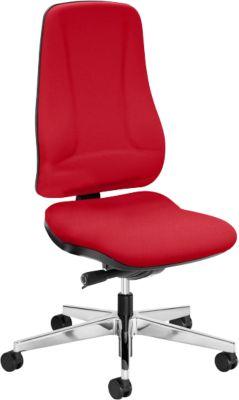 Prosedia Bürostuhl LEANOS V ERGO, Synchronmechanik, ohne Armlehnen, ergonomische Rückenlehne, rot/alupoliert