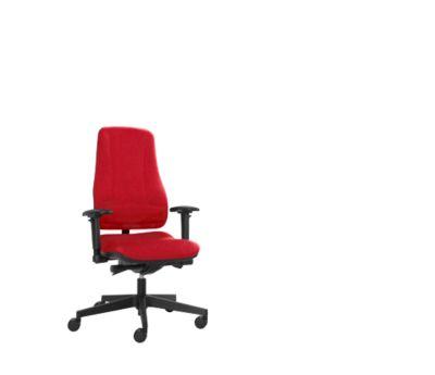 Prosedia Bürostuhl LEANOS V ERGO, Synchronmechanik, ohne Armlehnen, hohe Rückenlehne, rot/schwarz