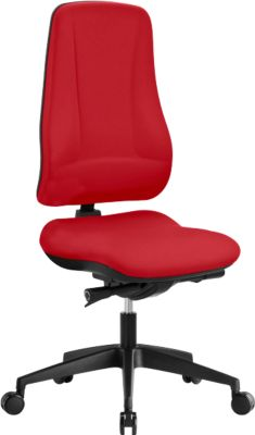 Prosedia Bürostuhl LEANOS V KOMFORT, Synchronmechanik, ohne Armlehnen, hohe Rückenlehne, Knierolle, rot/schwarz