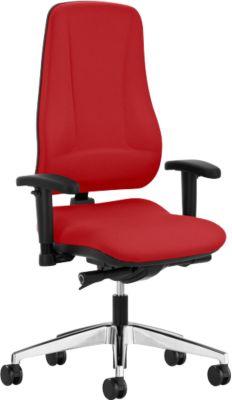 Prosedia Bürostuhl LEANOS V KOMFORT, Synchronmechanik, ohne Armlehnen, hohe Rückenlehne, rot/alupoliert