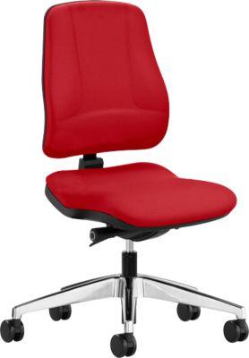 Prosedia Bürostuhl LEANOS V KOMFORT, Synchronmechanik, ohne Armlehnen, Lordosenstütze, Knierolle, rot/alupoliert