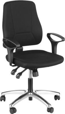 Prosedia Bürostuhl YOUNICO PLUS 8, Synchronmechanik, ohne Armlehnen, halhohe Rückenlehne, alupoliert/blau