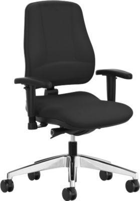 Prosedia LEANOS V KOMFORT bureaustoel, zonder armleuningen, zwart/aluminium gepolijst