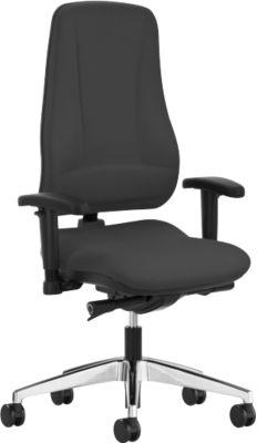 Prosedia LEANOS V KOMFORT bureaustoel, zonder armleuningen, zwart/gepolijst aluminium