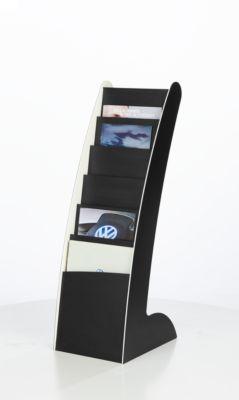 Prospektständer Paperflow COURBO Slim, Kunststoff, DIN A4, 6 Fächer, schwarz-weißes Design