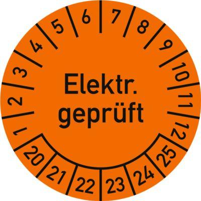 Prüfplakette, Elektr. geprüft (2020-2025), ø 30 mm, 100 Stück