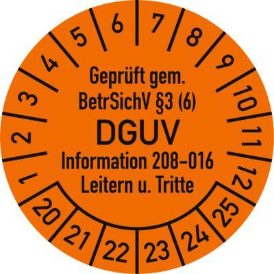 Prüfplakette, Geprüft gem. BetrSichV °3 (6) DGUV Information 208-016 Leitern u. Tritte (2020 - 2025)