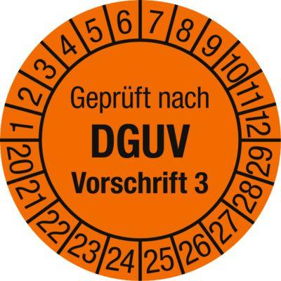 Prüfplakette, Geprüft nach DGUV Vorschrift 3 (2020-2029), 100 Stück