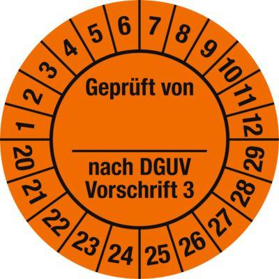 Prüfplakette, Geprüft von, nach DGUV Vorschrift 3 (2020-2029)