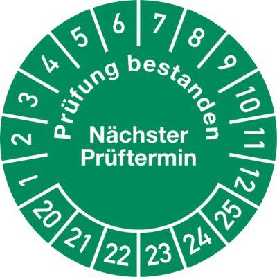 Prüfplakette, Prüfung bestanden, Nächster Prüftermin (2020-2025)