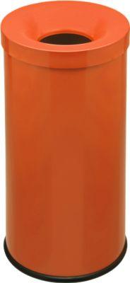 Prullenbak Cocorito, brandwerend, inhoud 50 l, met deksel, oranje