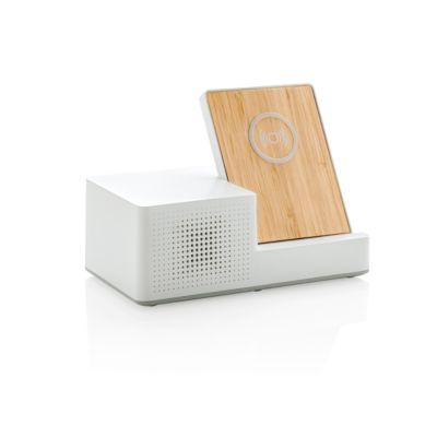 QI Wireless Charger Ontario, für Android & iOS, BT 4.1, ABS/Bambus, weiß, mit Lautsprecher + Werbedruck
