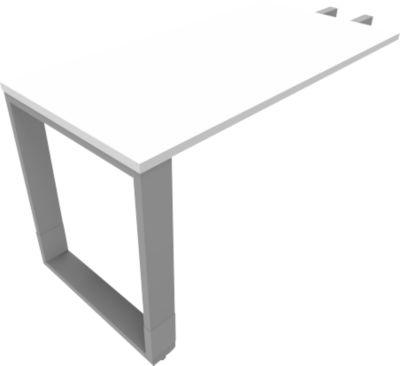 QUANDOS BOX aanbouwtafel, slede-onderstel, rechthoek, b 1200 x d 600 x h 720-820 mm, wit