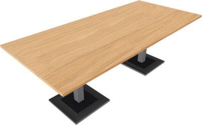 QUANDOS BOX vergadertafel, rechthoek, B 2200 x D 1000 x H 720 - 820 mm, Masonic-eiken