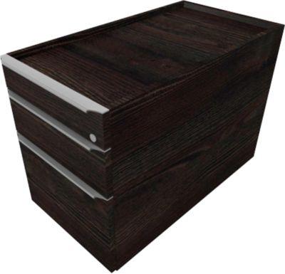QUANDOS BOX verrijdbare ladenblok, 1 + 1 laden, hangmappenframe, b 430 x d 800 x h 570 mm, Moor-eiken