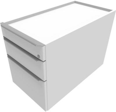QUANDOS BOX verrijdbare ladenblok, 1 + 1 laden, hangmappenframe, b 430 x d 800 x h 570 mm, wit