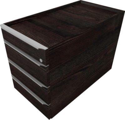 QUANDOS BOX verrijdbare ladenblok, 1 + 3 laden, b 430 x d 800 x h 570 mm, Moor-eiken