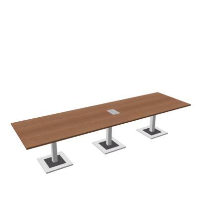 Quandos vergadertafel, 3-delig, incl. aansluitpaneel, B 3500 x D 1000 mm, kersen-Romana