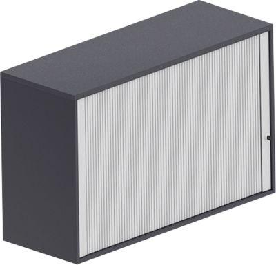 Querrollladen-Aufsatzschrank BEXXSTAR, 2 Ordnerhöhen, Sichtrückwand, B 1200 x T 445 x H 740 mm, schwarz