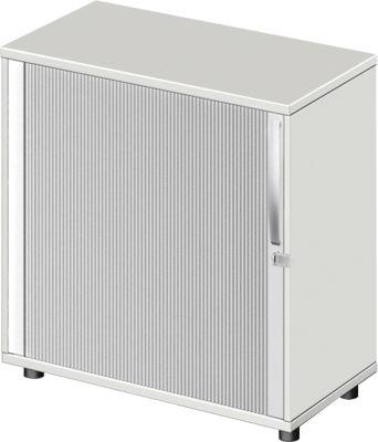 Querrollladenschrank LOGIN, 2 Ordnerhöhen, abschließbar, B 800 x T 420 x H 744 mm, lichtgrau/lichtgrau