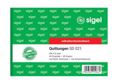 Quittungsblock Sigel SD021, A6 quer, 2 x 40 Blatt, selbstdurchschr., 2 Stck + 1 GRATIS