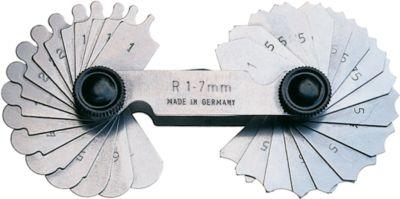 Radienschablone R 1 - 7 mm = je 17 Blatt