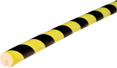 Randbeschermingsprofiel type B, 1 m stuk, geel/zwart, daglichtfluorescerend, met een dikte van 1 m.